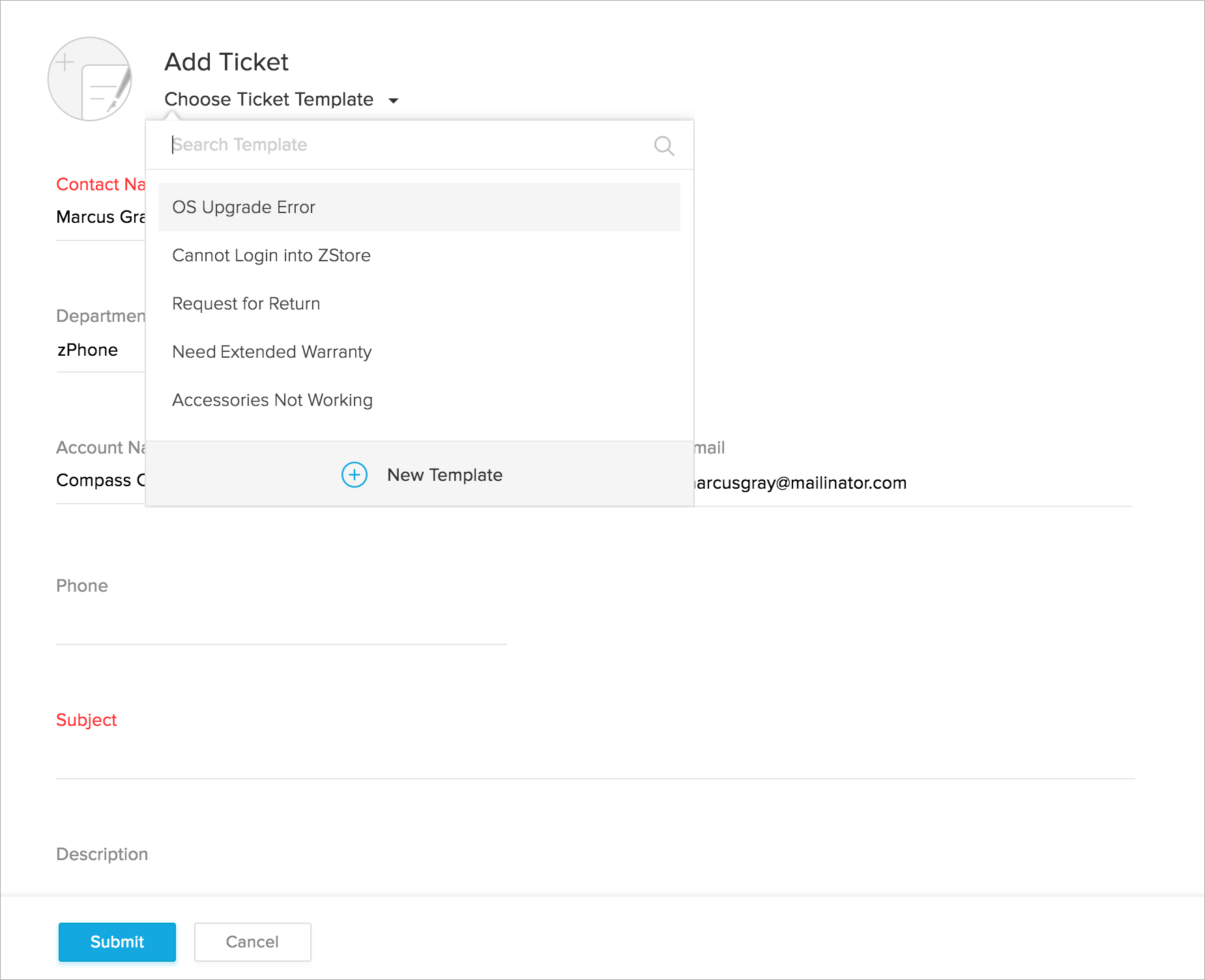 Create Ticket Templates Zoho Desk Knowledgebase – Create Tickets Template