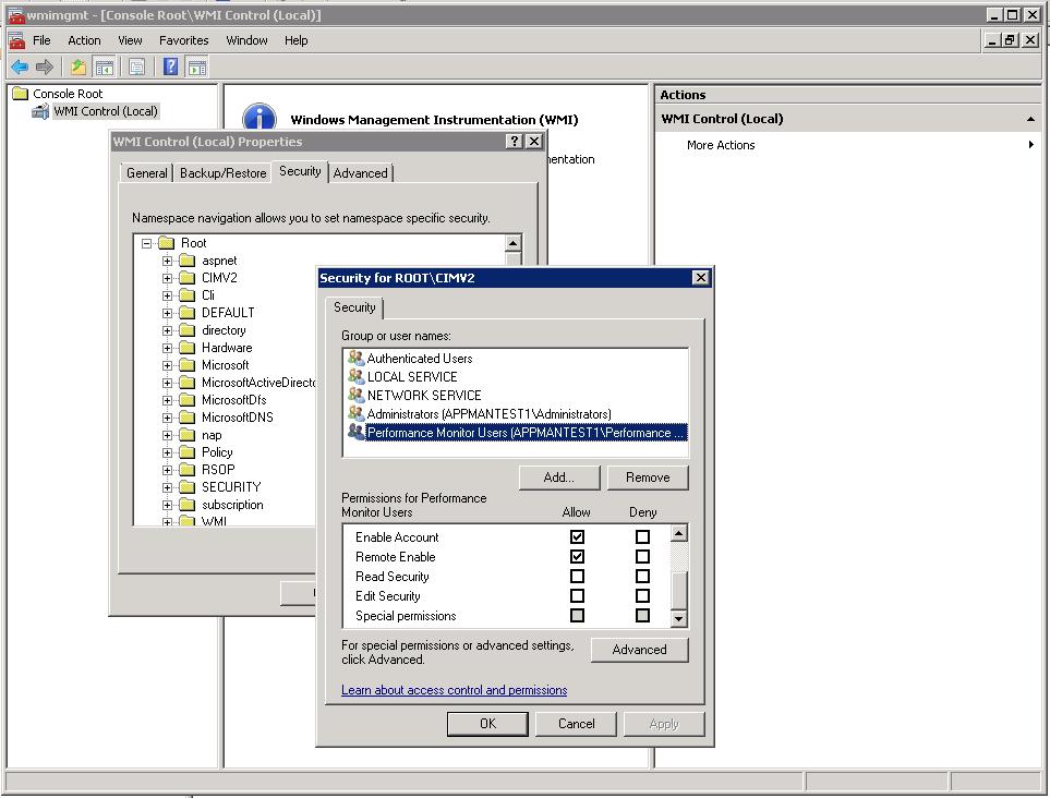 WMI-Configure Non-Admin User Account for WMI based Monitors