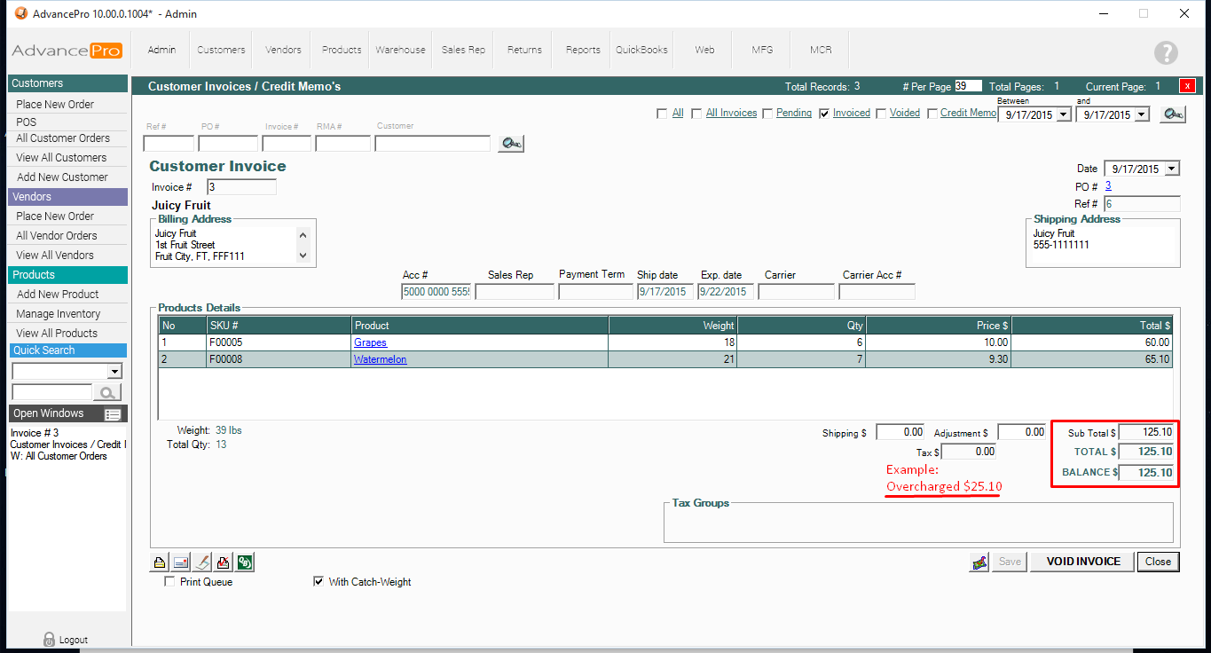 Creating a Credit Memo for Overcharged Invoice – Sample of Credit Memo