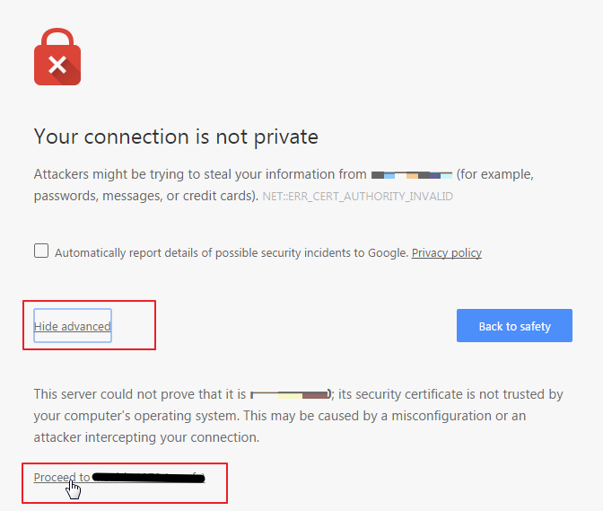 Your connection is not secure SSL Error - Adding browser