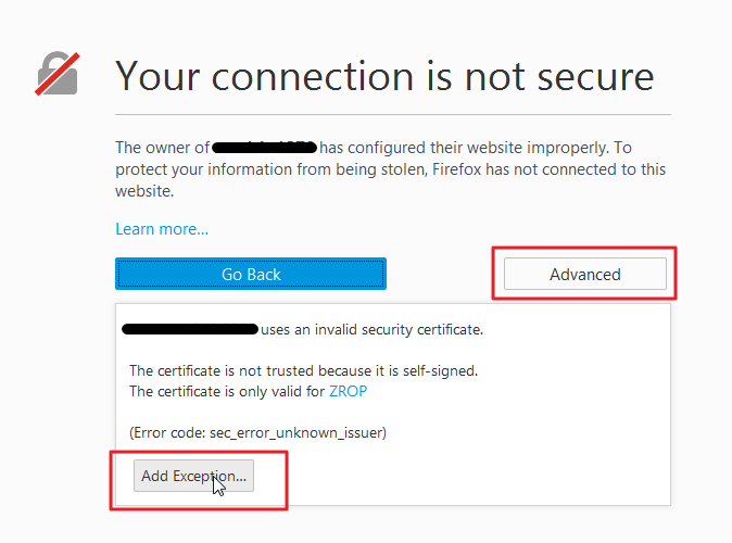Your Connection Is Not Secure Ssl Error Adding Browser Exception