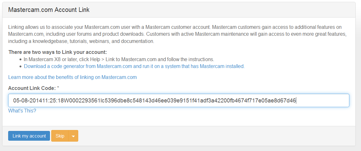 How to Link Account to Mastercam Website