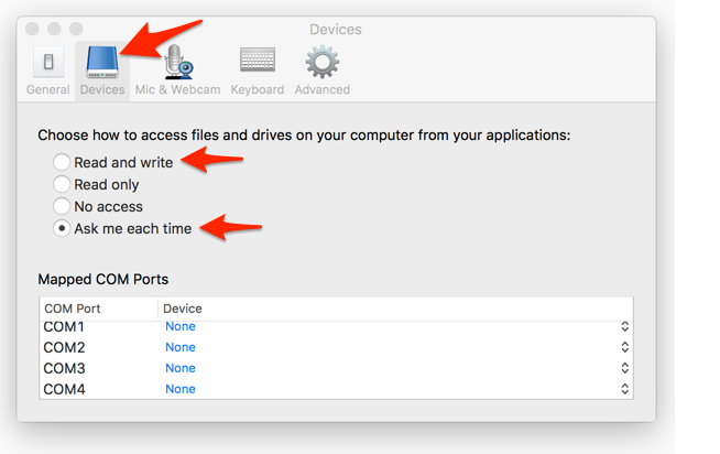 How to configure access to your local computer's drives from
