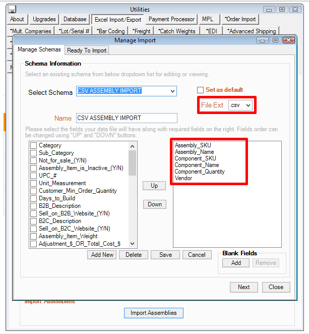 Importing Assembly Items in CSV Format